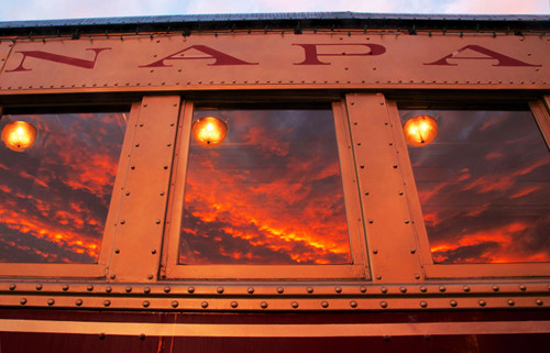 Sunrise at the Napa Valley train yard.