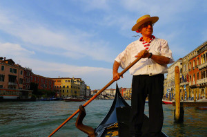 While on a sunset romantic cruise in Venice.